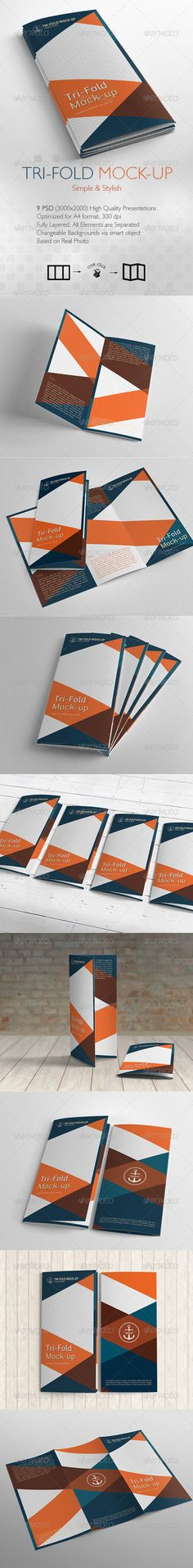 TriFold Brochure Mockup / 9 Different Images — Photoshop PSD #documents #a4 • Available here → https://graphicriver.net/item/trifold-brochure-mockup-9-different-images/6615077?ref=pxcr