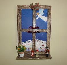 Janela natalina para porta com papelão e massa acrílica
