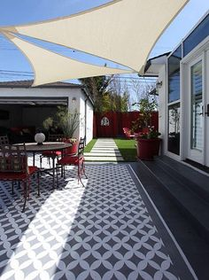Stenciled patios and concrete porches with examples and tutorials. Refresh your patio with a little paint and a stencil! Backyard Patio Designs, Backyard Pergola, Backyard Landscaping, Pergola Ideas, Backyard Ideas, Garden Ideas, Yard Design, Pergola Kits, Painted Cement Patio