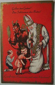Vintage Christmas Krampus Postcard.