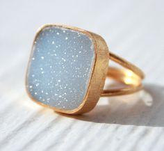 Aqua Blue Agate Druzy Ring  Cushion Square Cut  by OhKuol on Etsy, $65.00