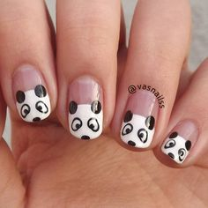 Panda Nail art design is one of the most hit nail art designs. You can make panda nail art design by yourself without the help of any expert designer. Silver Nail Art, Red Nail Art, Cute Nail Art, Gold Nail Polish, Easy Nail Art, Gold Nails, Beautiful Nail Designs, Beautiful Nail Art, Panda Nail Art