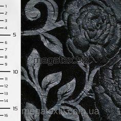 Мех искусственный черный со штампом синими розами ш.150 , меховая ткань