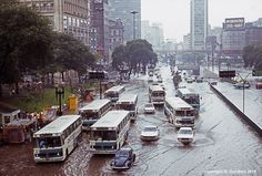 A rainy day at Vale do Anhangabau in 1985 - Sao Paulo, Brazil