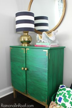 IKEA Tarva Hack: Drink Bar Cabinet and Shipibo Paint-A-Pillow in green and blue www.paintapillow.com