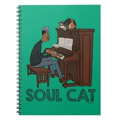 Soul | Joe & Mr. Mittens at the Piano Notebook Animated Movies For Kids, Playing Piano, Thing 1, Disney Birthday, Notebook Covers, Kid Movies, Music Gifts, Lined Page, Custom Notebooks