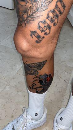 Armbeugen Tattoos, Leg Band Tattoos, Tattoos Bein, Full Leg Tattoos, Back Tattoos For Guys, Dope Tattoos, Hand Tattoos, Tattoos For Women, Calf Sleeve Tattoo