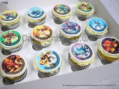 Selection of buttercream Skylanders image printed cupcakes complete with the birthday boys name, age and message