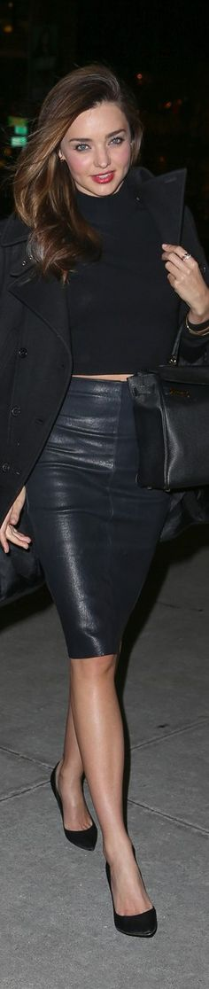 All black. date nite. Cropped top, pencil skirt and jacket. Miranda Kerr