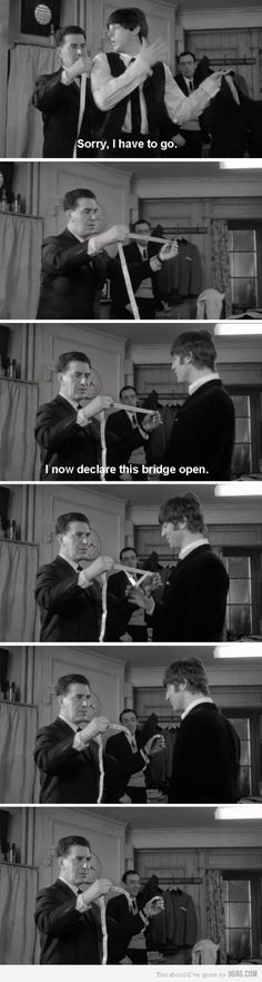 """Just John Lennon being John Lennon If you like British humor, watch the Beatles movie """"A Hard Day's Night. I always loved that part about the bridge! Beatles Funny, Beatles Love, Beatles Quotes, John Lennon Quotes, Beatles Poster, Beatles Guitar, Lyric Quotes, Quotes Quotes, Ringo Starr"""