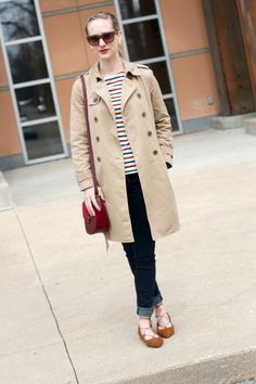 J. Crew washed trench coat, striped tee, suede lace-up flats