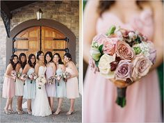 pastel bridesmaid dresses and pink bouquets