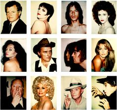 POLAROIDS BY ANDY WARHOL (From Left to Right, Top to Bottom) Teddy Kennedy, Liza Minnelli, Mick Jagger, Jane Fonda, Diana Ross, Dennis Hopper, John Lennon & Yoko Ono, Farrah Fawcett, Alfred Hitchcock, Dolly Parton, Truman Capote, Margaret Hamilton)