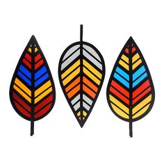 Chevron Leaf - Stained Glass, $30