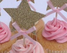 Decoraciones fiestas Cupcake Toppers 12 CT. Rosa y de oro   Etsy