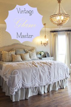 Vintage Glam Master Bedroom Antique Meets Girly Love The Metallic Wallpaper Knock It Off With Paint And A Stencil Lots Of Glass Warm Textures