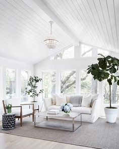 Newlywed Home Design Ideas Shiplap ceiling. Living room with shiplap ceiling. Living room with wood paneled ceiling and floor- House Design, Farm House Living Room, House, Chic Living Room Decor, Home, Floor To Ceiling Windows, House Interior, Sunroom Designs, Living Room Designs