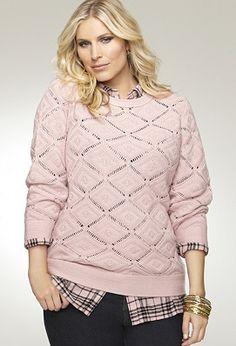 diamond crochet sweater avenue.com