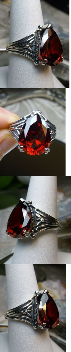 Rings 52603: 7Ct Tear Drop *Red Garnet* Gothic Filigree Solid Sterling Silver Ring Size 6 -> BUY IT NOW ONLY: $37.0 on eBay!