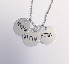 Alpha Beta Omega Necklace Wolf Jewelry by LulusStampings on Etsy More