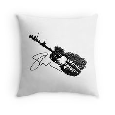 Shawn Mendes Guitar Tattoo & Autograph Throw Pillows