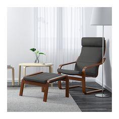 POÄNG Chair, medium brown, Finnsta gray Finnsta gray medium brown