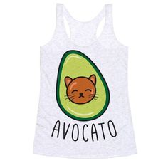 "Celebrate your love of cats and avocado all in one food pun! This cat pun design features the text ""Avocato"" with an illustration of an avocado cat! Perfect for cat lovers, food puns, food jokes, and avocado lover!"