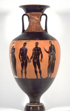 Etruscan black figure amphora: boxers wearing himantes, with official and (left) personification of the annual Etruscan games C600BC