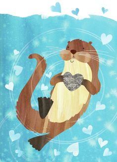 Helen Rowe - Otter and Hearts