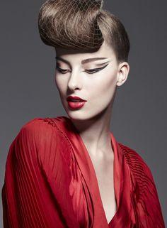 makeup by John Stapleton  www.aimartist.com/johnstapleton  winged eyeliner / red lips / bouffant #makeup
