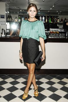 The loose silk and fitted pencil skirt