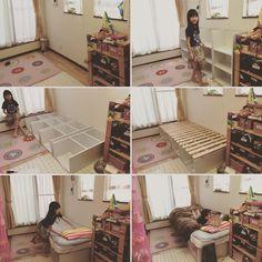 ムスメの部屋の空いたスペースに カラーボックス4つ組み立て 杉板渡して IKEAのスノコとマットレスを敷いたら 子供ベッドの出来上がり  #兄と使用するはずのIKEA二段ベッドが 結局僕のベッドになって早4年 #そろそろ1人寝 #できるかな #カラーボックス #IKEA #DIY #ベッド #苦肉の策 #だめなら #屋根裏の整理棚になる by hir0ki_rac