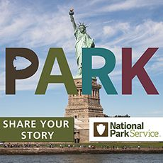 Statue of Liberty photo with Share Your Story button and National Park Service logo