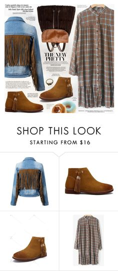 """""""Flounce Ruffles Checked Straight Dress"""" by katjuncica ❤ liked on Polyvore featuring xO Design, brown, fringes, longsleevedress, checkeddress and straightdress"""