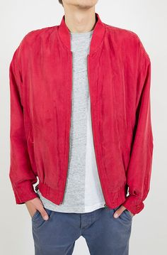 Silk bomber jacket fall fashion red mens jacket by NylonRoad