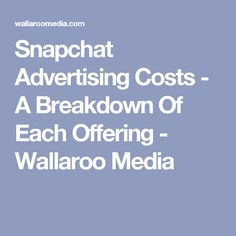 Snapchat Advertising Costs - A Breakdown Of Each Offering - Wallaroo Media