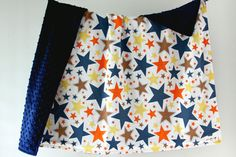 Large Baby/Toddler Blanket Blue Orange Brown and Yellow by owesley, $54.00
