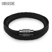 US $5.32     Buy Jewelry At Wholesale Prices!     FREE Shipping Worldwide     Buy one here---> http://jewelry-steals.com/products/obsede-fashion-leather-bracelet-for-men-braided-black-rope-chain-black-stainless-steel-clasp-bangles-boys-cool-vintage-gifts/    #fashion_jewelry