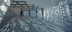 Effect of light patterns on a white reflective surface