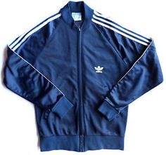Vintage 1970s Womens Size S ADIDAS Track Jacket, Trefoil, Navy Blue,Stripes. $25 FREE SHIP!