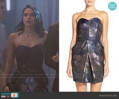 Veronica's strapless jacquard dress on Riverdale.  Outfit Details: https://wornontv.net/65832/ #Riverdale