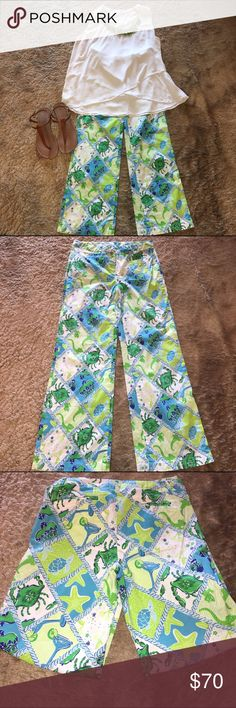 Lilly Pulitzer pants. Lilly Pulitzer pants. Size 4. 97% cotton, 3% spandex. Inseam 28 1/2.                                                                      * No Lowball Offers  * No commenting offers  * Submit offers through the offer button  * I normally ship same day or next Lilly Pulitzer Pants
