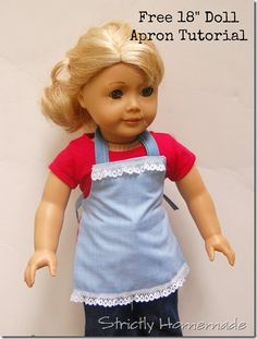 """Free 18"""" Doll Apron Tutorial. Fun and easy."""