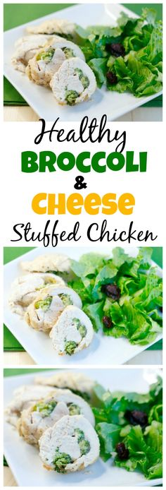 Healthy Broccoli and Cheese Stuffed Chicken. A simple, healthy, and delicious recipe the whole family will enjoy.