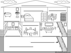 Fichas de Inglés para niños: Rooms of the house