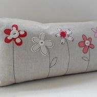 Handmade Cushion Cover This cover is made from a cotton/linen mix fabric in a natural colourway.  The flowers have been cut from a selection of cotton and velvet fabrics and each one machine appliqued to the cover.  A button has been added to the centr...