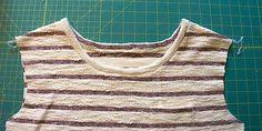 Halsausschnitt eingefasst Jersey Shirts, Sewing, Tops, Inspiration, Fashion, Striped Fabrics, Sewing Patterns, Hand Crafts, Biblical Inspiration