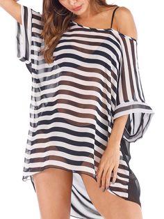 bdeaa3475c Plus Size Sexy Stripe Chiffon Swim Cover Ups for Women Bikini Warp Cover Up  Beach Dress