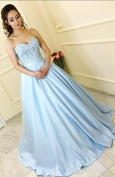 Charming A-Line Sweetheart Light Blue Long Prom Dress #prom #promdress #dress #eveningdress #evening #fashion #love #shopping #art #dress #women #mermaid #SEXY #SexyGirl #PromDresses