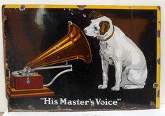 "Antique Original 1930s Huge HMV HIS MASTER'S VOICE porcelain enamel Sign 32x46 "" #HMV His Masters Voice, Sign Boards, The Voice, Stuff To Buy, Originals, Regulatory Signs, Shop Signs"